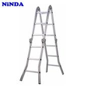 Thang nhôm Ninda ND-404 gấp chữ M, cao 4m7