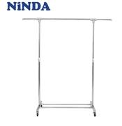 Giá phơi quần áo đơn Inox NiNDA RD117 cao cấp có bánh xe