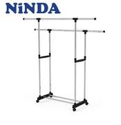Giá phơi quần áo Inox NiNDA RD217 2 tầng có bánh xe