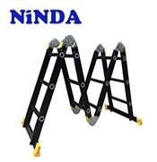 Thang nhôm NiNDA ND-403B gấp chữ M đen, cao 3m7