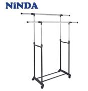 Giá phơi quần áo NiNDA R217 2 tầng có bánh xe